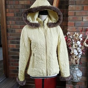 CAbi Quilted Faux Fur Full Zip Hooded Jacket